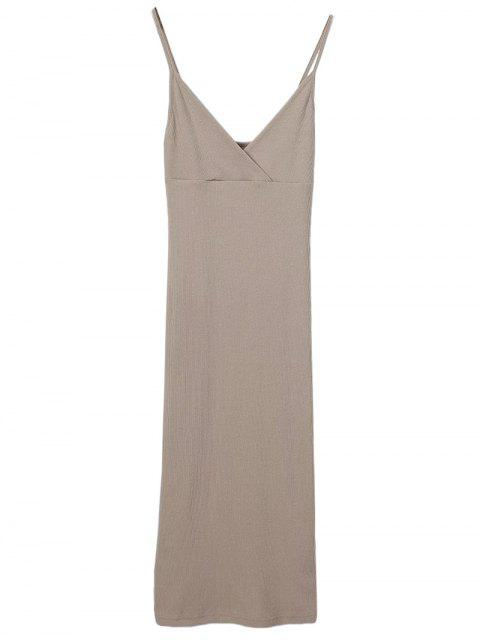 shop Slip Surplice Slinky Tank Dress - LIGHT KHAKI S Mobile