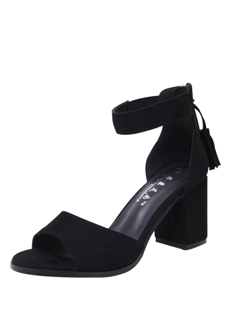 new Zipper Chunky Heel Tassels Sandals -   Mobile