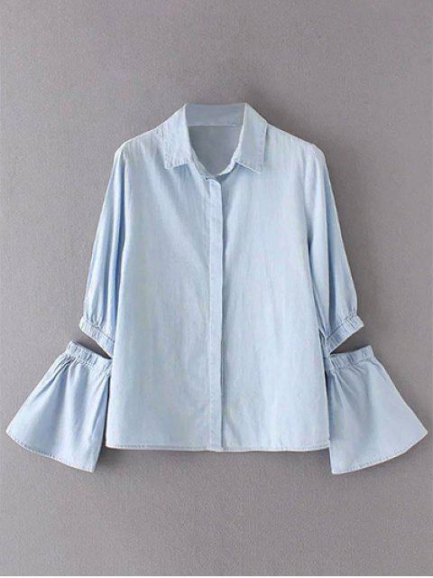 latest Cut Out Flare Sleeve Chambray Shirt - LIGHT BLUE S Mobile