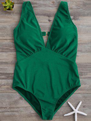 Bañador En Una Pieza Con Escote Pico Con Thong - Verde Xl