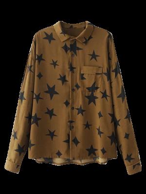 Pentagram Impressão Camisa Do Bolso - Marrom S