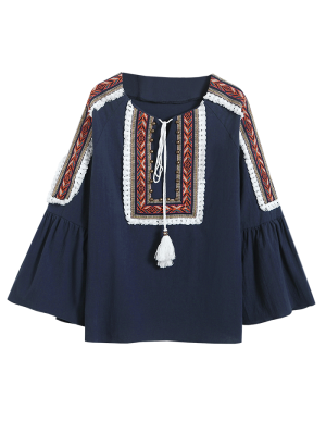 Linen Blend Bell Sleeve Blouse - Cadetblue