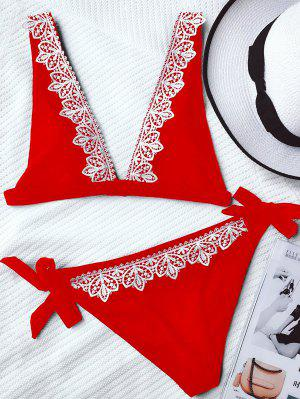 Lace Trim Plunging Neck Tied Bikini - Red L