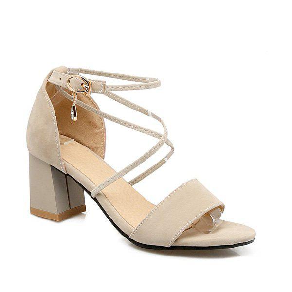 Rhinestone Block Heel Sandals 210710403