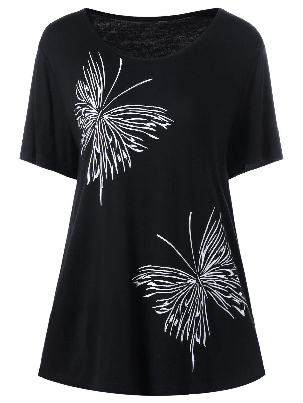 Plus Size Butterfly Graphic T Shirt 208353705