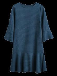 Flounce Trim Drop Waist Jacquard Dress - Deep Blue L