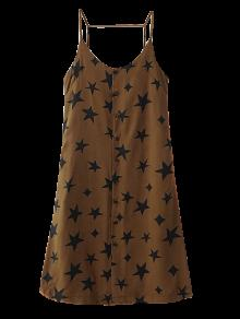 Button Up Star Print Slip Dress - Brown L