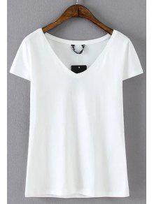 T-shirt En Coton Mélange Et à Col V  - Blanc L