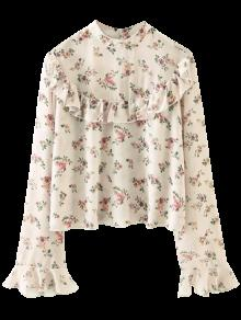 Chiffon Floral Print Frilly Blouse - Pink L