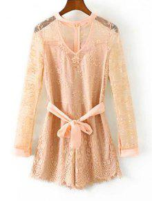 Choker Lace Sheer Romper With Tie Belt - Light Apricot Pink M