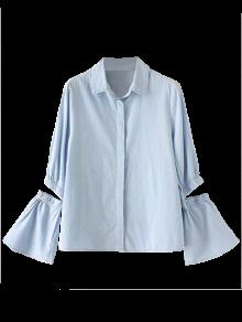 De Camisa De La S Recortable La Claro Manga Llamarada Cambray Azul USqYnTwX