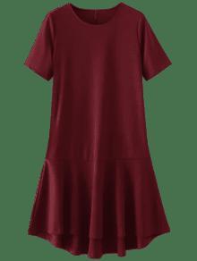 فستان كشكشالحاشية عالية انخفاض - أحمر M