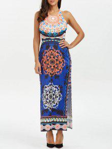 عارية الذراعين الرسن الرقبة القبلية طباعة بوهو فستان طويل - ازرق غامق M