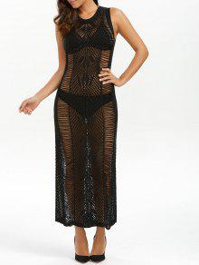فستان ماكسي شفاف محبوك شاطئ - أسود S