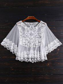 Crochet Panel Mesh Crop Top - White