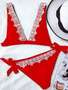 Hundiendo El Ajuste Del Cordón Atado Del Cuello Del Bikini - Rojo L