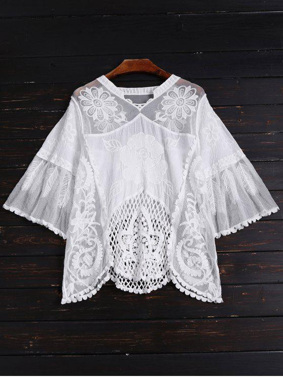 hot See Through Hollow Out Top - WHITE ONE SIZE