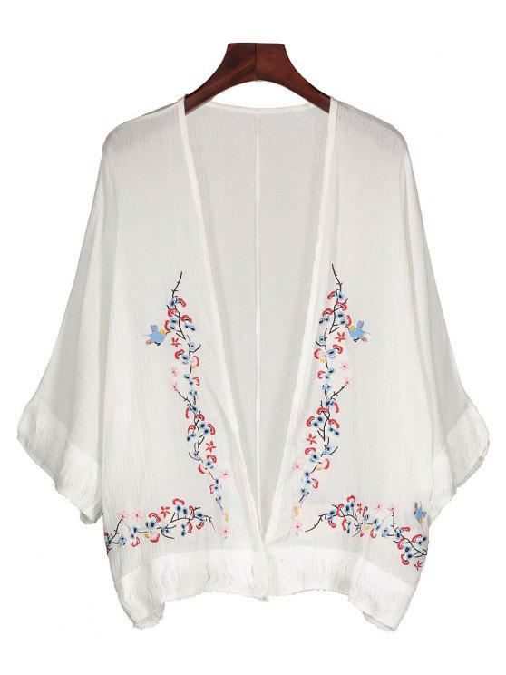buy Fringed Embroidered Cover Up - WHITE ONE SIZE