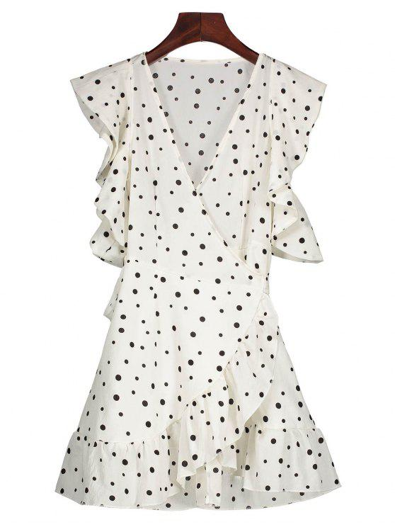 women's Polka Dot Wrap Casual Dress - WHITE XL