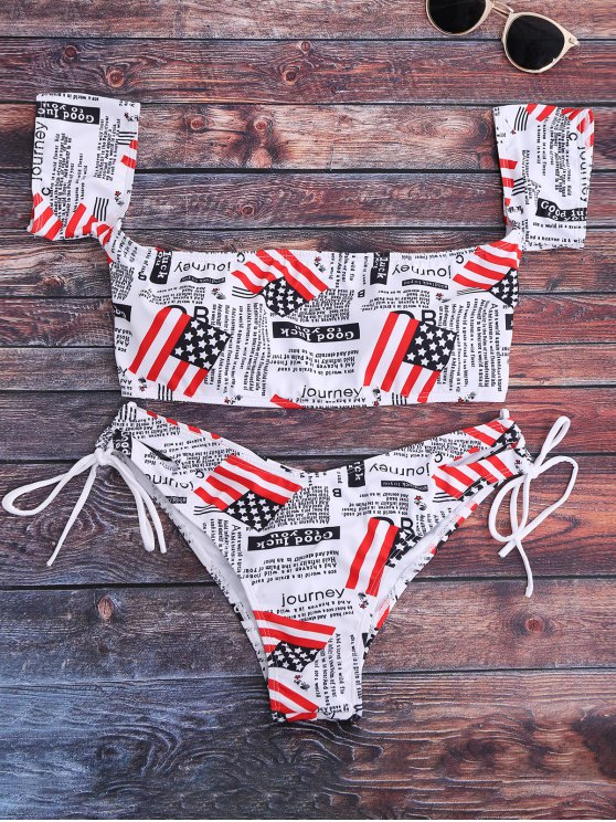 Gráfico Off The Shoulder Bikini Set - Branco S