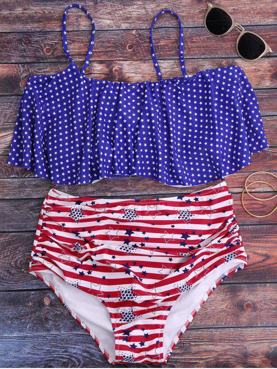 women Patriotic American Flag High Waisted Bikini Set - BLUE S