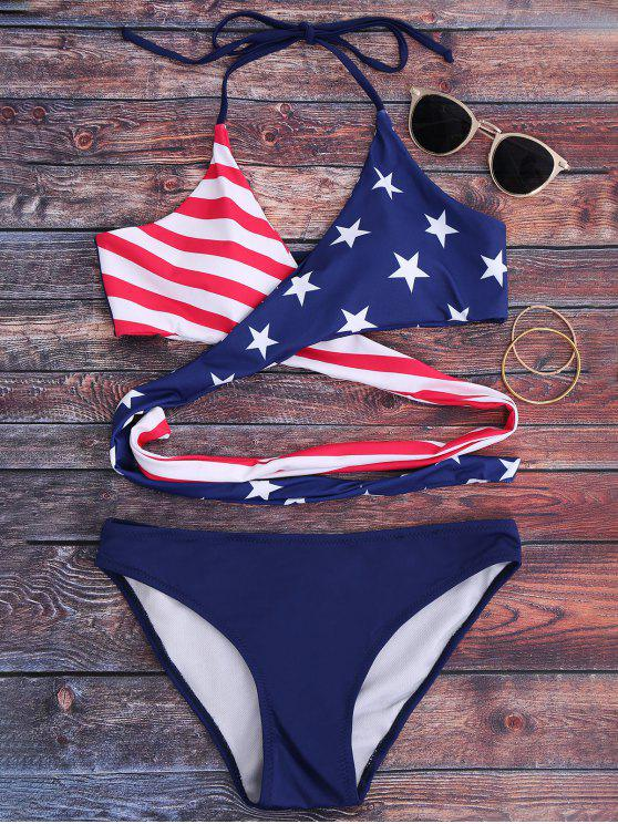 best Striped Patriotic American Flag Wrap Bikini Set - BLUE S