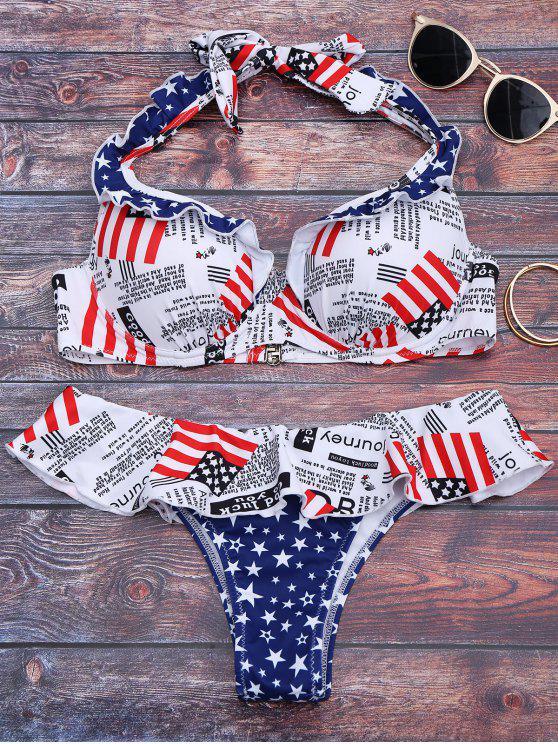 Ruffles Pentagrama impressão gráfica Bikini - Cor Mistura S