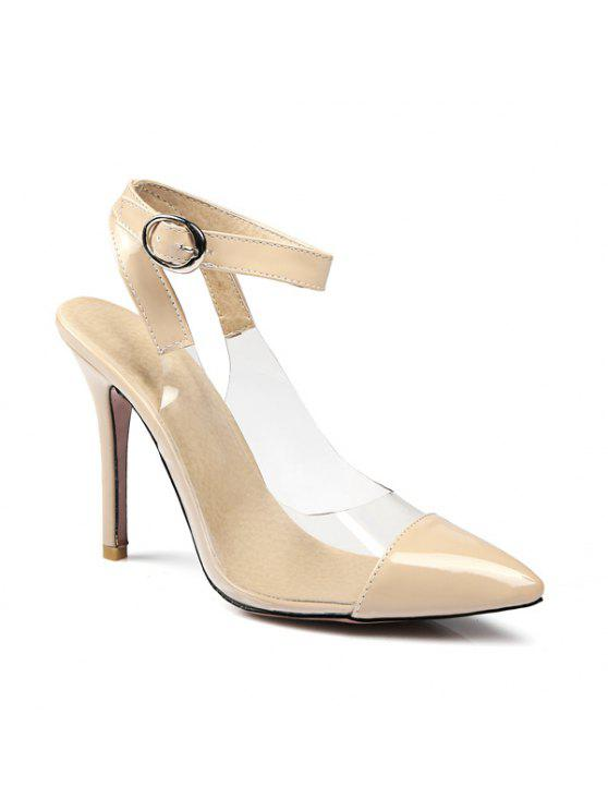 unique Pointed Toe Transparent Plastic Pumps - NUDE 39