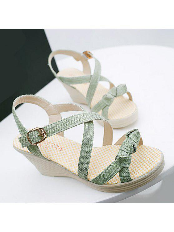 lady Wedge Heel Knots Sandals - GREEN 37