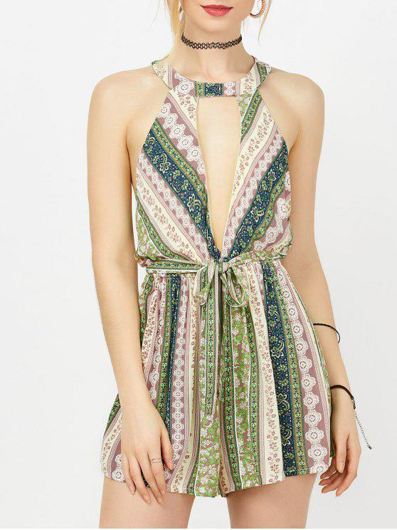 b8ba3c8ff9 Tassel Cutout Floral Print Plunge Playsuit - Pink And White And Deep Blue M
