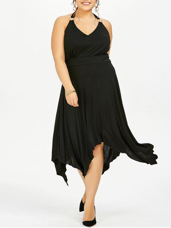 Plus Size Halter Asymmetric Dress