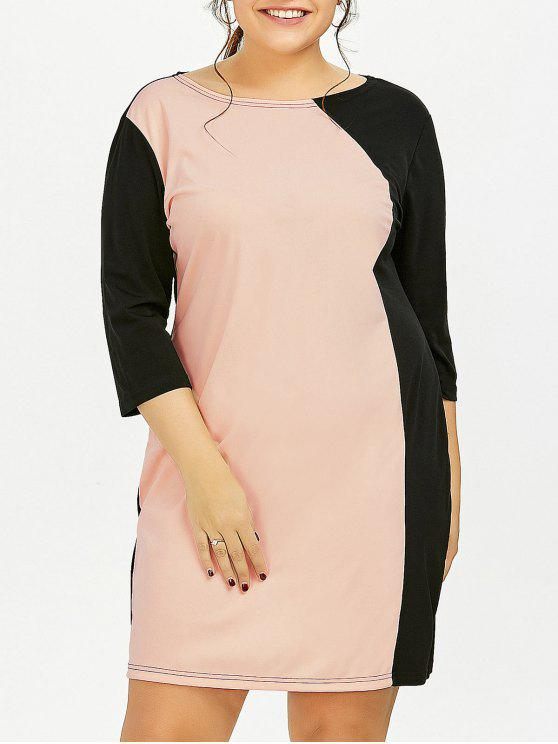 03ac927f2702d 2019 Plus Size Color Block Sheath Dress With Sleeves In PINK 3XL