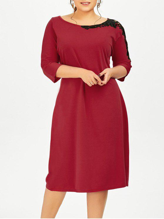 37% OFF] 2019 Plus Size Lace Insert Pencil Dress In DEEP RED   ZAFUL