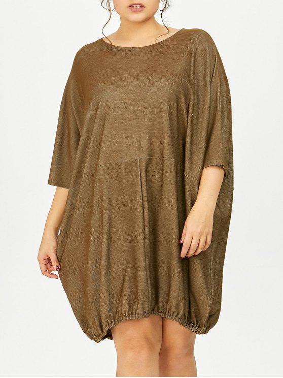 فستان تيه الحجم الكبير دولمان الأكمام - كاكي حجم واحد