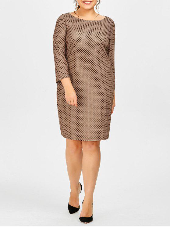 Plus Size Polka Dot Printed Sheath Work Dress DARK KHAKI