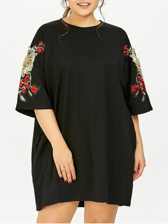 زائد حجم الأزهار مطرز تونك تي شيرت اللباس مع جيوب - أسود حجم واحد