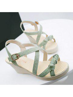 Wedge Heel Knots Sandals - Green 38
