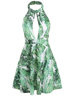 Mock Neck Open Bust Backless Sleeveless Palm Dress - Green S