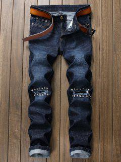 Rivet Straight Leg Ripped Denim Jeans - Blue 36