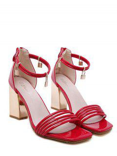 Strappy Zip Chunky Heel Sandals - Red 39