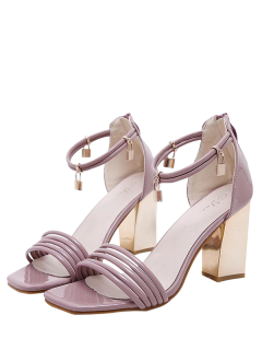 Strappy Zip Chunky Heel Sandals - Pink 38