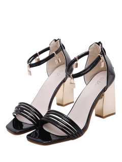 Strappy Zip Chunky Heel Sandals - Black 40