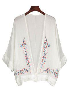 Fringed Embroidered Cover Up - White