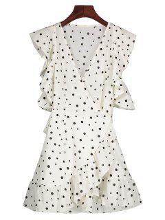 De Lunares Vestido Wrap Informal - Blanco Xl
