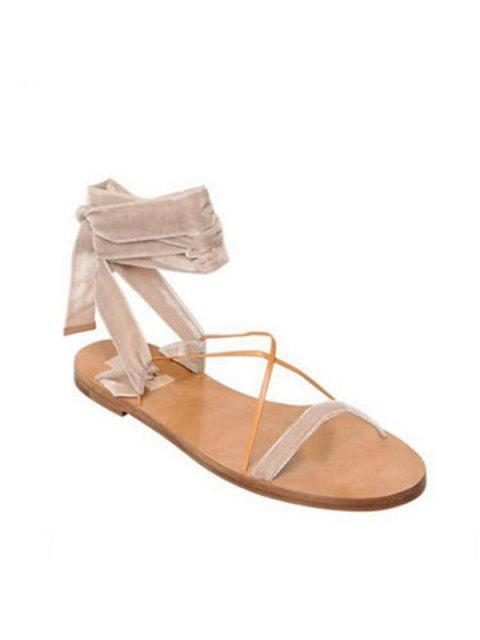 chic Velvet Flat Heel Sandals - APRICOT 38 Mobile