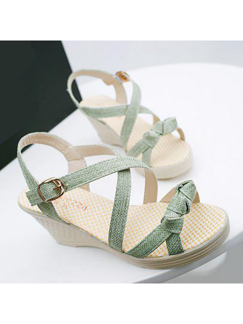 lady Wedge Heel Knots Sandals - GREEN 37 Mobile