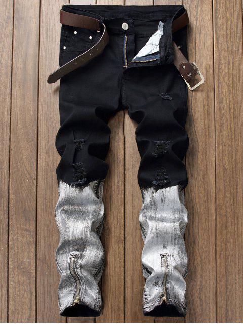 Baking Gemalter Entwurf Zerrissene Jeans - Schwarz 32 Mobile