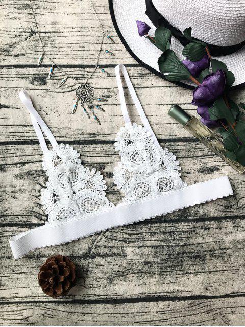Ungefüttert Sheer Crochet Bralette Top - Weiß M Mobile