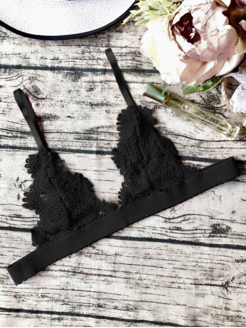 fancy Unlined Sheer Crochet Bralette Top - BLACK S Mobile