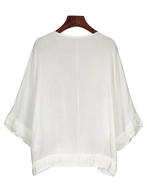 buy Fringed Embroidered Cover Up - WHITE ONE SIZE Mobile